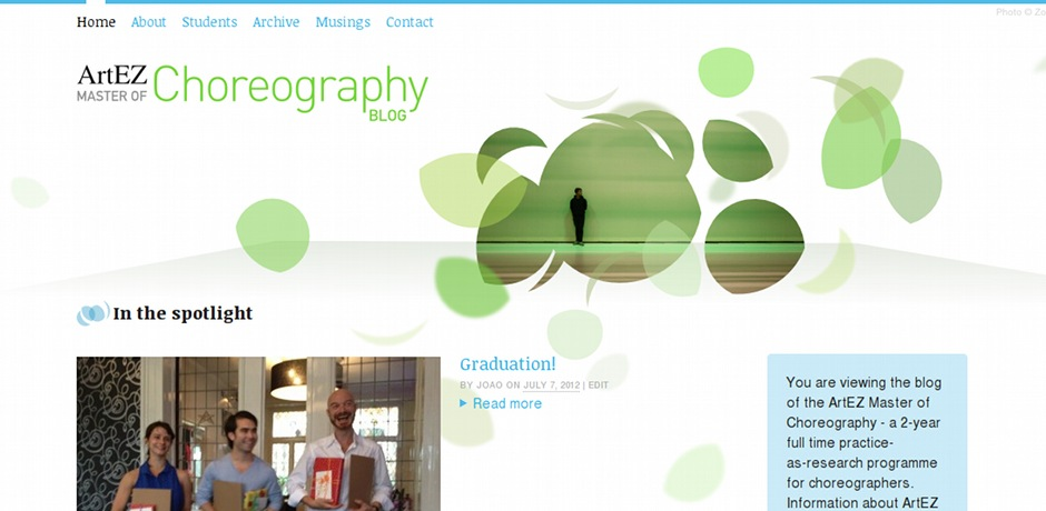 Site web en WordPress pour ArtEZ Master of Choreography